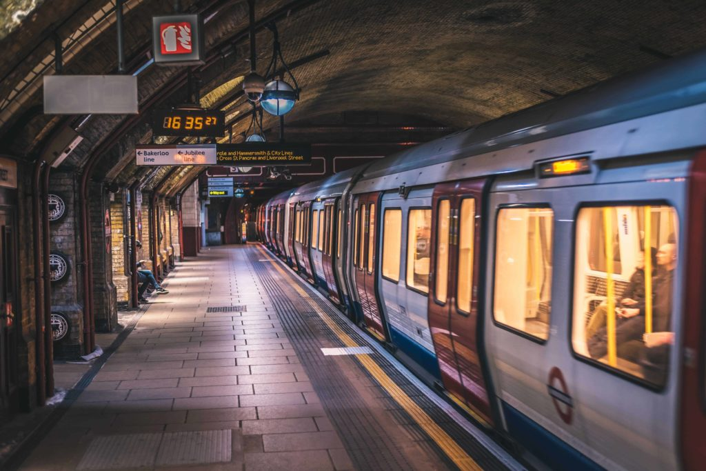a train waiting at the platform on the london underground