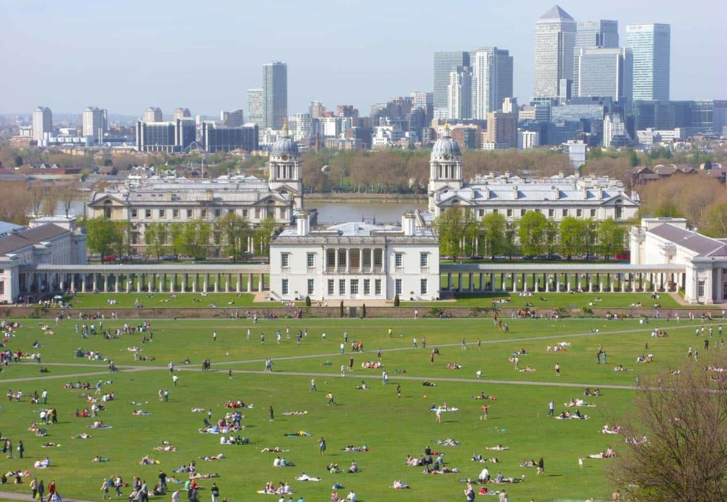 view of the old royal navy college from greenwich park