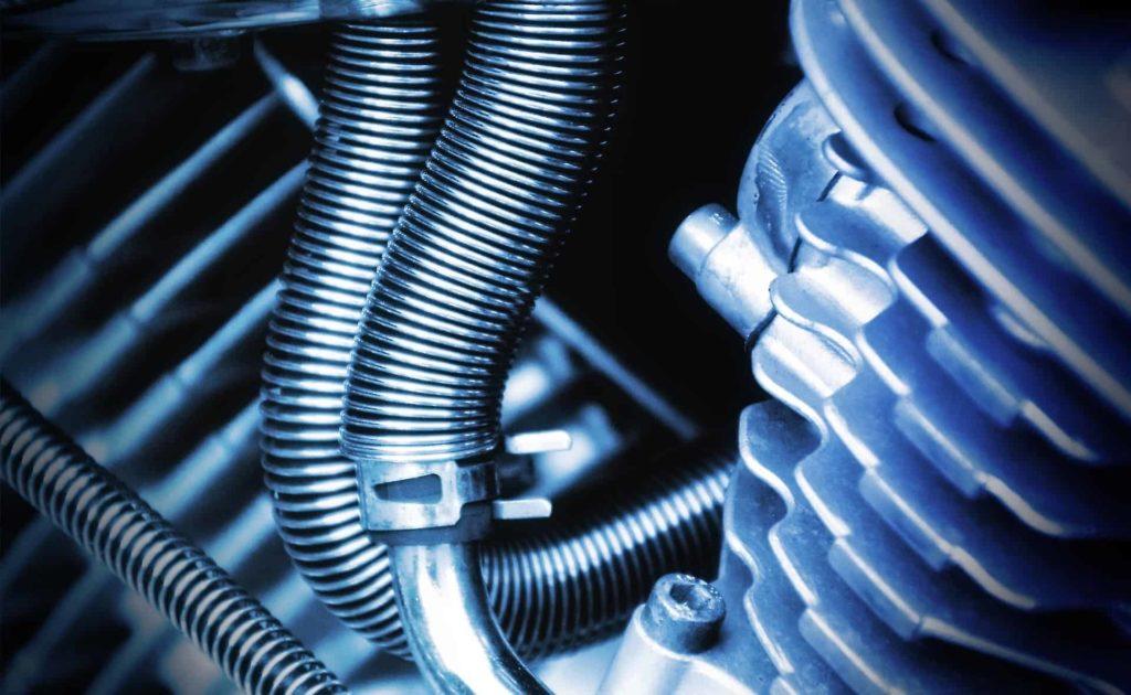 closeup of motor engine