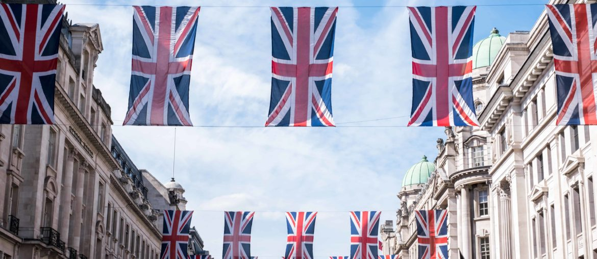 union jack flags in london high street